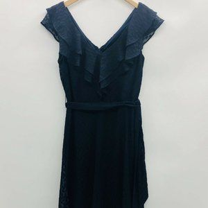 DKNY Size 6 Sleeveless Double V Neck Ruffle Dress